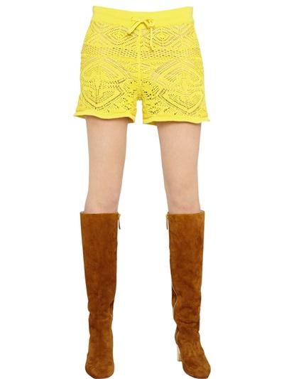 Emilio Pucci Crocheted Cotton Shorts, Yellow