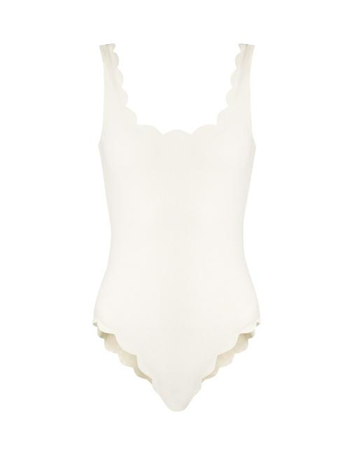 Marysia Palm Springs Scallop-edged Swimsuit In White