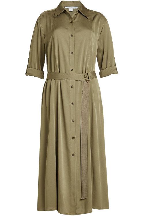 Diane Von Furstenberg Silk Dress With Belted Waist In Green