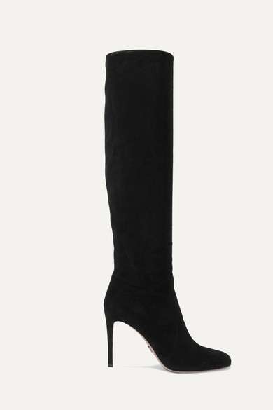 Prada Suede Over-The-Knee Boot In Black