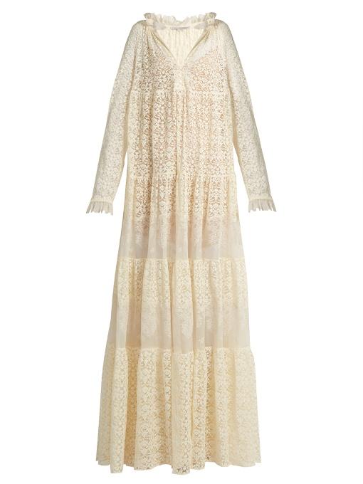 Stella Mccartney Deep V-neck Lace Maxi Dress In Ivory
