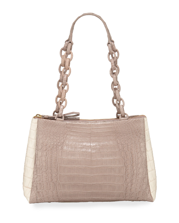 Nancy Gonzalez Medium Crocodile Shoulder Bag In Sand