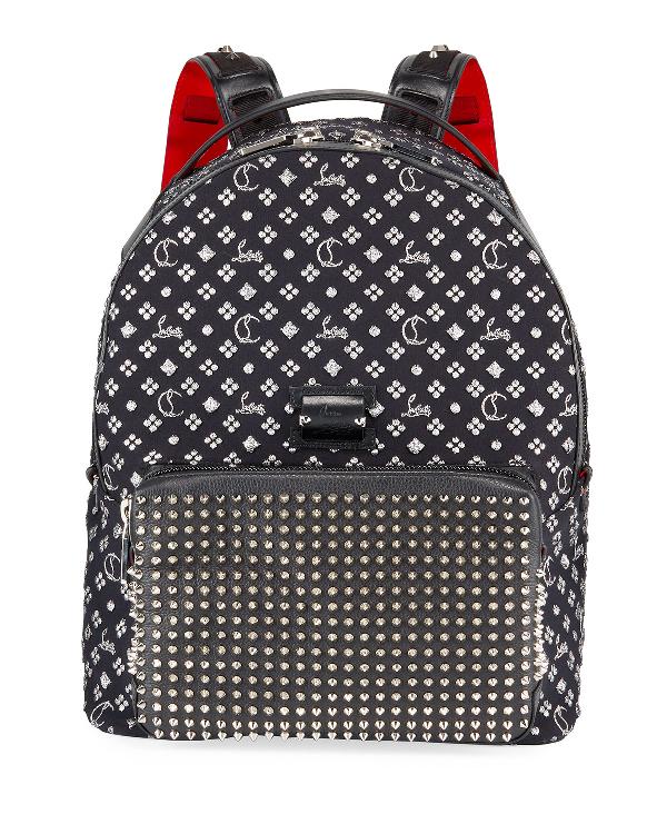 Christian Louboutin Men's Backloubi Neo Jacquard Spike Backpack In Black/Silver