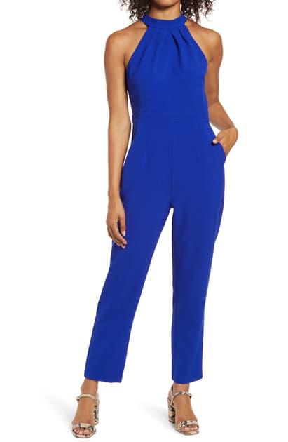 Julia Jordan Halter Wide Leg Jumpsuit In Cobalt Blu