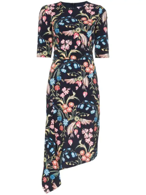 Peter Pilotto 1/2-sleeve Floral Cady Asymmetric Dress In Multicolour
