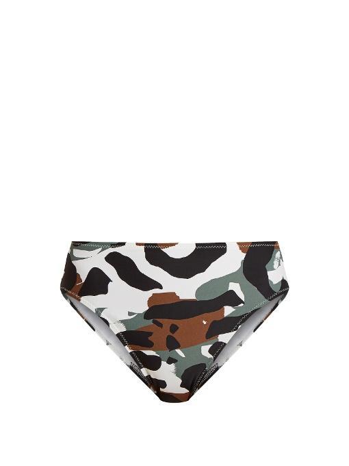 Norma Kamali Camo-print High-rise Bikini Briefs In Camouflage