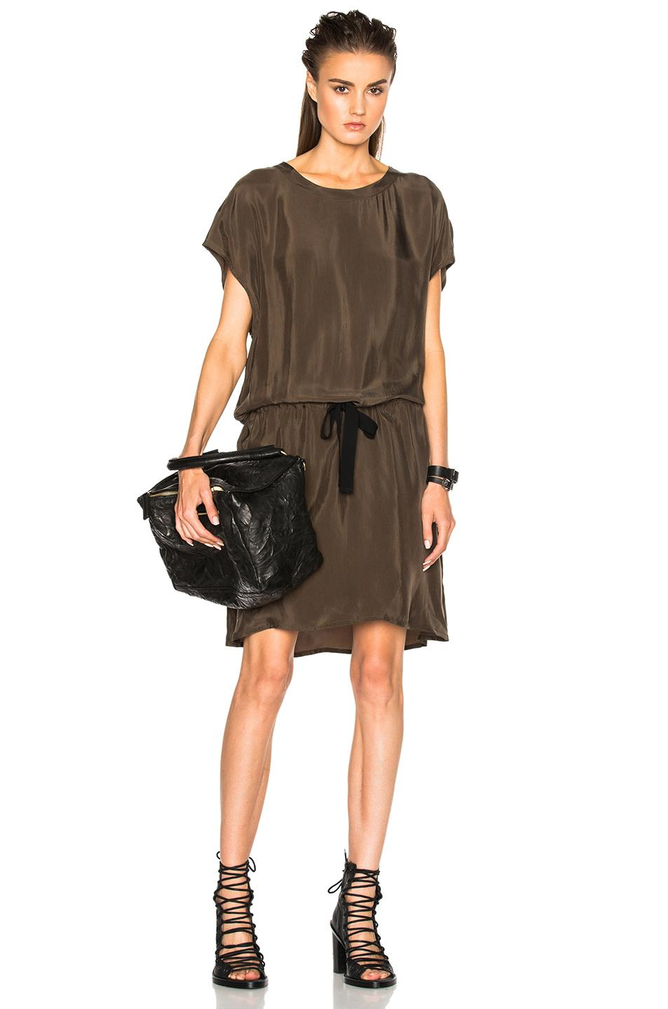 Ann Demeulemeester Drawstring Dress In Green. In Khaki