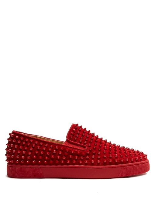 Christian Louboutin Roller Boat Spike-embellished Slip-on Trainers In Crimson-red