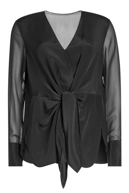3.1 Phillip Lim Silk Blouse With Knot Detail In Black