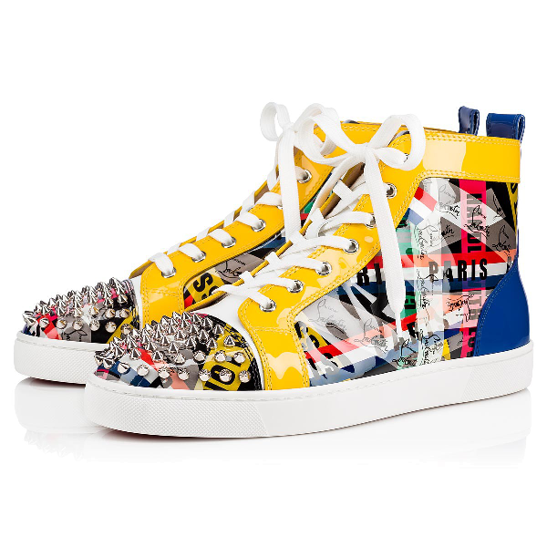 Christian Louboutin Men's Lou Spikes Loubiballage High-Top Sneakers With Spikes In Version Multi