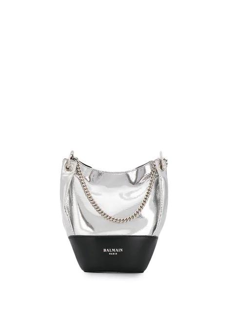 Balmain Polygon Bucket Bag In Silver