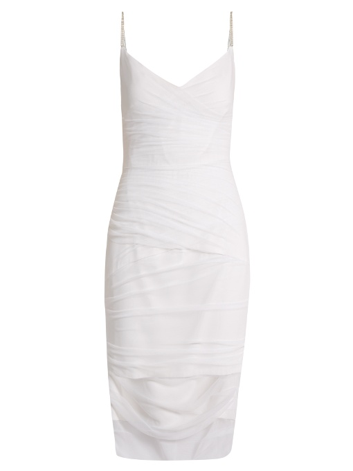 Versace V-Neck Ruched Tulle Slip Dress In White