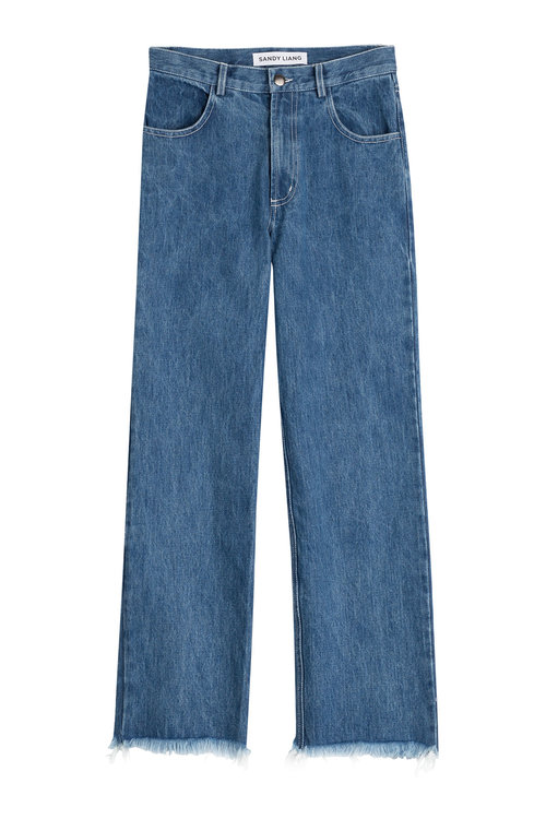 Sandy Liang Cropped Jeans In Blue