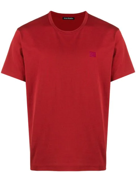 Acne Studios Nash Face Patch Cotton T-shirt In Red