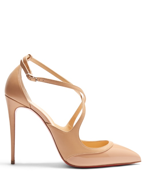 Christian Louboutin Crossfliketa 100 Leather Pumps In Nude