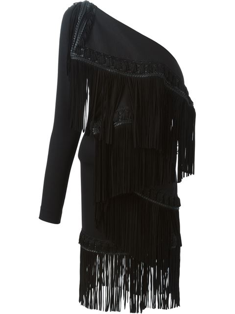 Dsquared2 Fringed Micro PiquÉ Jersey Dress In Black