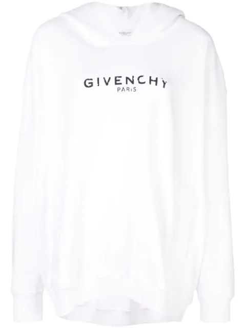 Givenchy Destroyed Logo Cotton Sweatshirt Hoodie In White