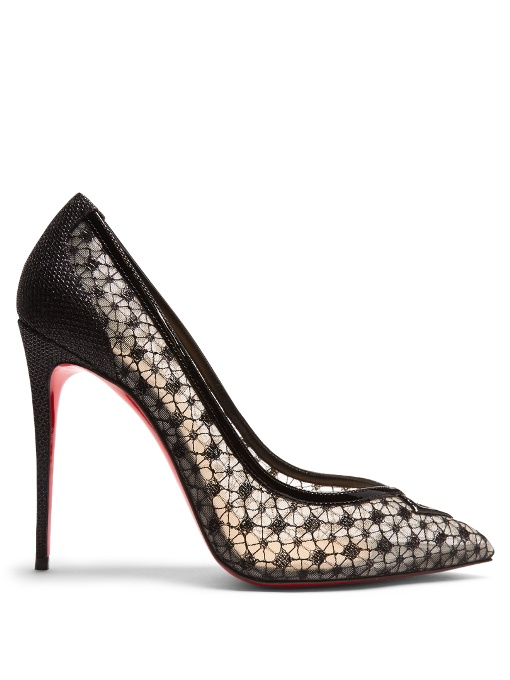 23a16b5b7f9e Christian Louboutin Neomid 55 Embroidered Mesh And Leather Pumps In Black
