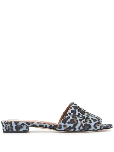 Paris Texas Leopard Print Sandals In Blue