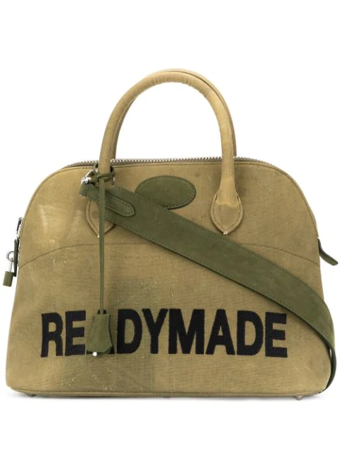Readymade Woven Tote Bag In Green