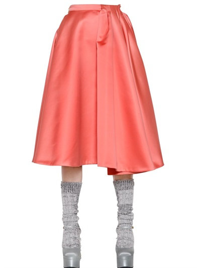 Rochas Duchesse Skirt With Pleated Section In Orange