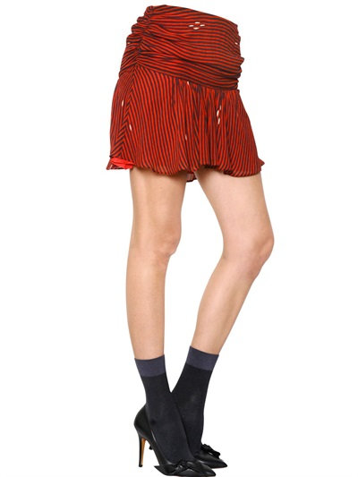Isabel Marant Striped Viscose Crepe Skirt In Red