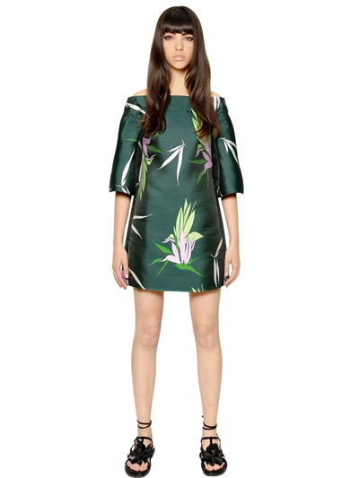 Marni Silk Blend Jacquard Dress In Green