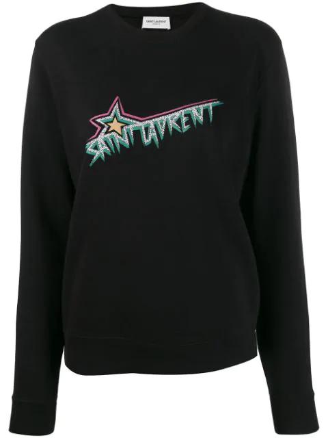 Saint Laurent Vintage-inspired Logo Sweatshirt In Black