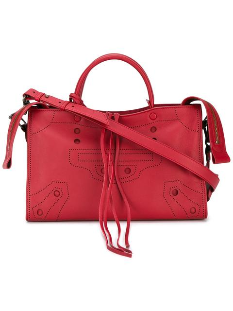 Balenciaga Blackout City Small Leather Bag In Red