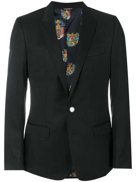 Dolce & Gabbana Stretch Wool Toile 2 Button Jacket In Black