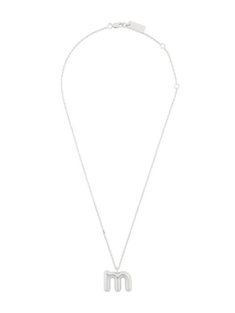 Marc Jacobs Bubble M Pendant In Silver