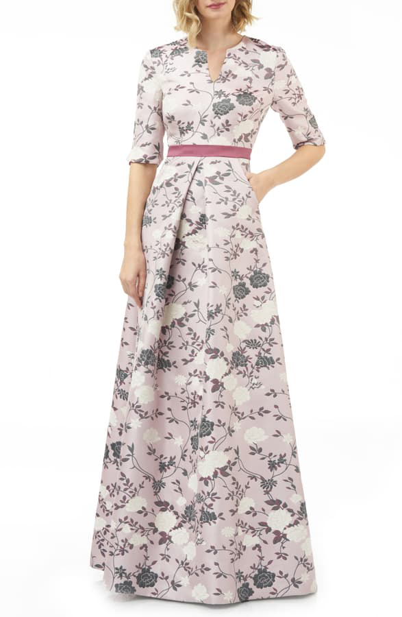Kay Unger Flower Jacquard Gown In Mauve/ Wine Multi