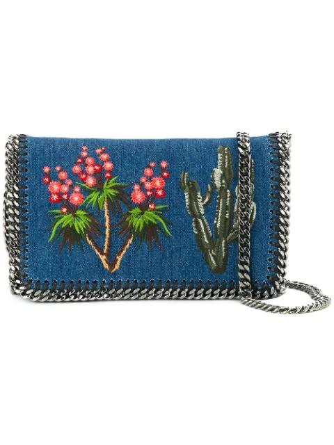 Stella Mccartney Western Embroidered Denim Falabella Shoulder Bag In Blue