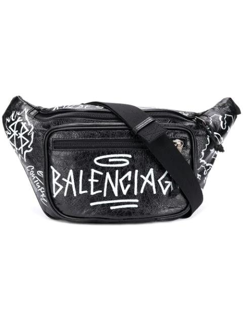 Balenciaga 'Explorer' Graffiti Print Leather Belt Bag In Black