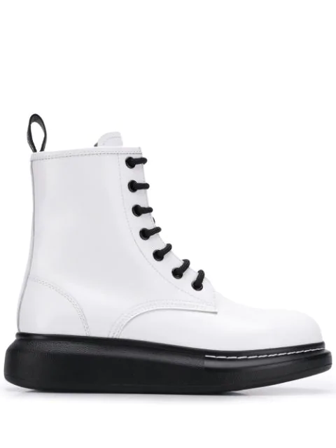 Alexander Mcqueen Glossed-Leather Exaggerated-Sole Ankle Boots In White
