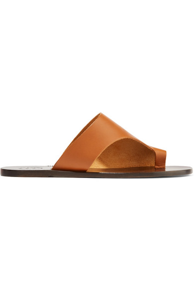 Atp Atelier 'Rosa' Cutout Leather Slide Sandals In Brown