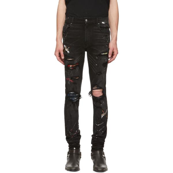 Amiri 'art Patch' Colourblock Ripped Skinny Jeans In Ablagedblac