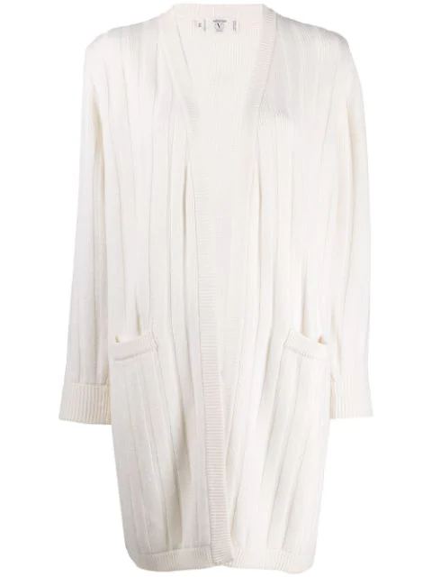 Pre-owned Valentino '1980s Ribbed Cardigan In White