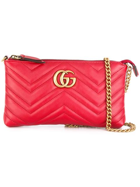 Gucci Gg Marmont Wallet Crossbody Bag In Red