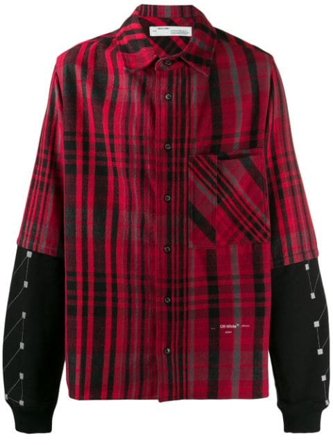 Off-White Contrast-Panel Checked Cotton-Blend Shirt In Red