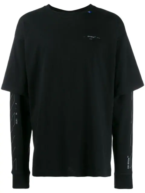 Off-White Unfinished Logo Layered Sleeve Cotton T Shirt In 1091 Black Silver