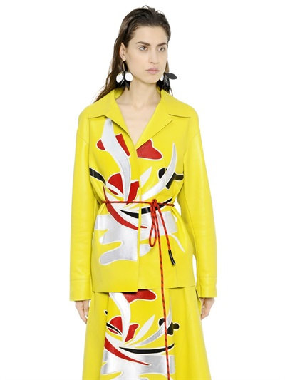 Marni Nappa Leather Jacket W/ Patchwork Detail In Yellow