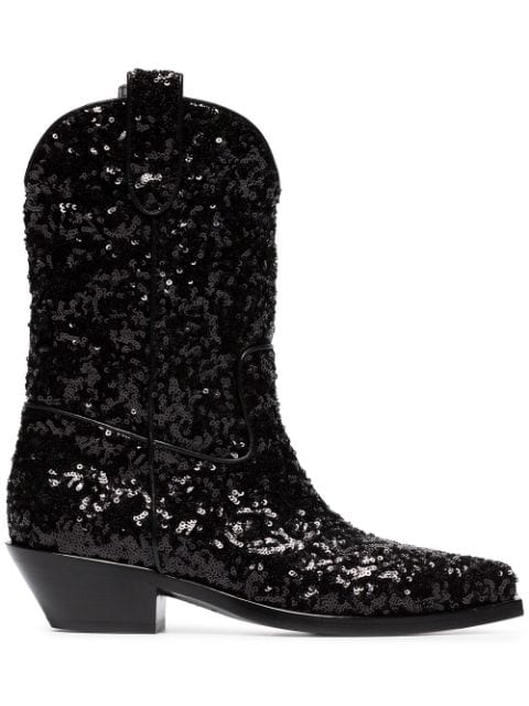 Dolce & Gabbana Gaucho 40 Sequined Cowboy Boots In Black