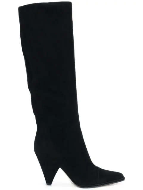Sergio Rossi Pointed Knee-Length Boots In Black