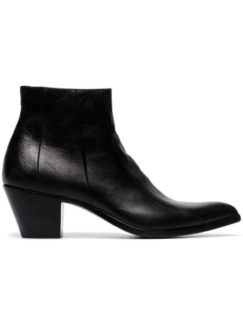 Saint Laurent Black Finn 60 Leather Cowboy Ankle Boots In 1000 Black