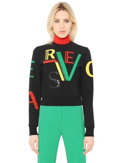 Versace Cropped Sweatshirt With Logo Patches, Black