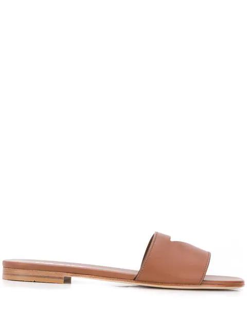 Prada Cut-Out Sandals In Brown