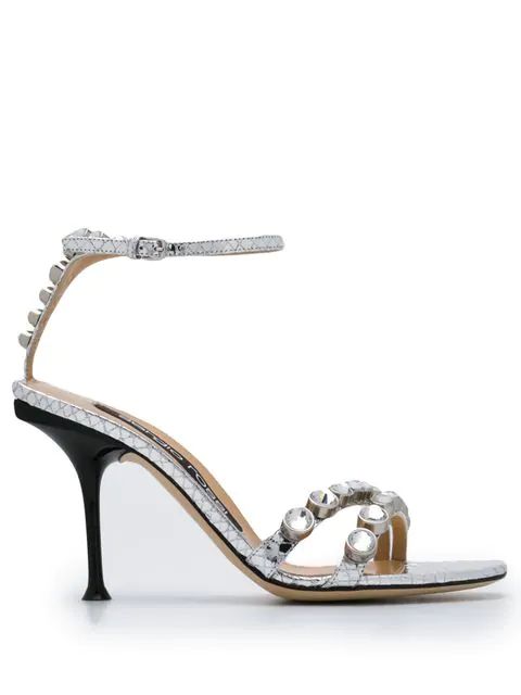 Sergio Rossi Crystal Embellished Sandals In Silver