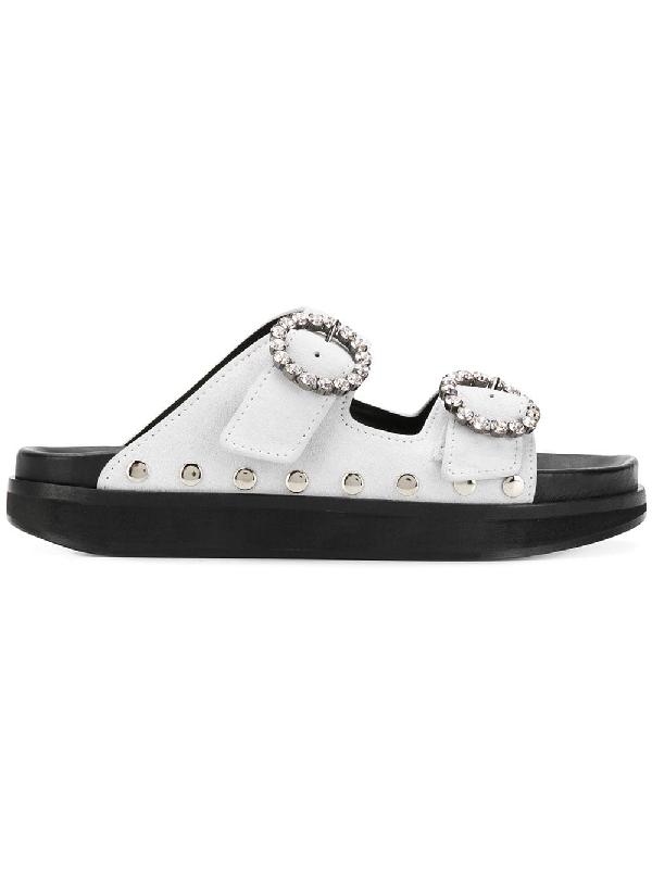 Isabel Marant Noddi Studded Suede Slides In White