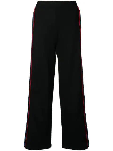Stella Mccartney Wide Logo Trousers In Black